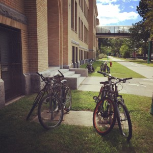 Bike racks at Lowell High