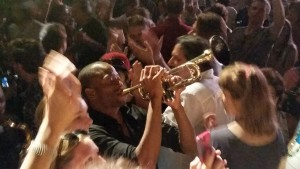 "Trombone Shorty with the audience; according to Aucella, ""Shockingly fun"""